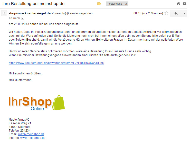 Screenshot der Mail